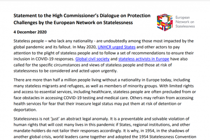 Statement to the High Commissioner's Dialogue on Protection Challenges by the European Network on Statelessness
