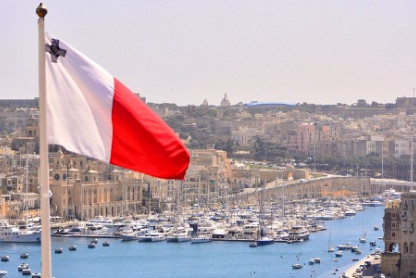 Maltese flag overlooking Valetta