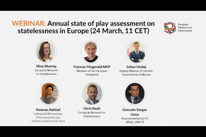 "List of speakers at ENS' webinar ""Annual state of play assessment on statelessness in Europe"""