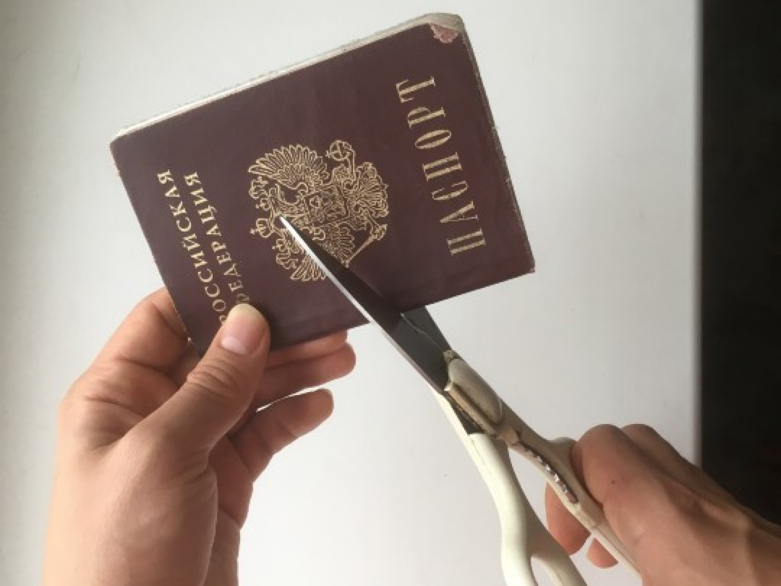 Russian passport being cut with scissors
